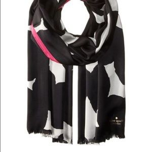 Kate Spade Black Blot Dot Silk Oblong Scarf
